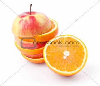 slices of apples and half orange