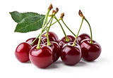 Juicy cherries with leaf