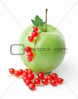 Apple and sprigs of red currants