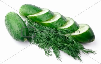Sliced cucumber and dill