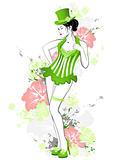 beautiful girl in green dress