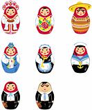 Matryoshka russian doll icon set