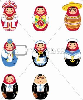 Matryoshka russian doll icon set