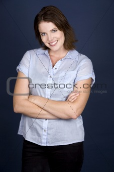 casual woman in blue