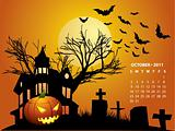 October calendar - Halloween with haunted house, bats and pumpkin