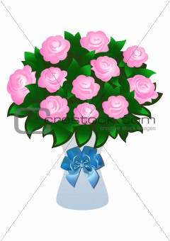 Beautiful pink roses with bow
