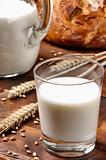 Glass of milk and bread