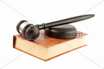 Gavel on brown book