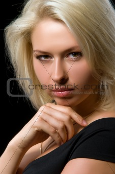 woman on a black background