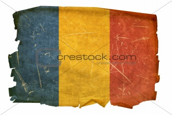 Chadian Flag old, isolated on white background.