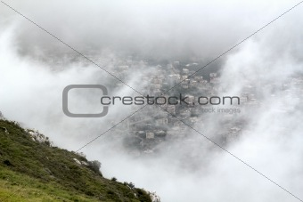 City view through fog