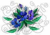 Beautiful abstract flowers in blue colors