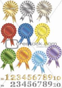 A set of rewards-rosettes.
