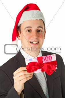 Businessman with chrismas hat