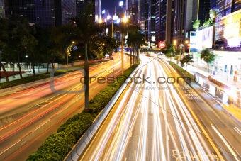 car light in city