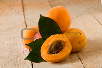 Apricot on wooden table