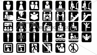 34 People Icons In Black And White