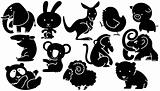 Animals cartoon icons in black and white