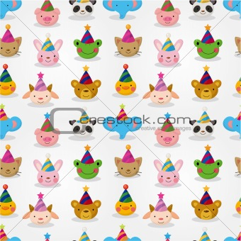 Cartoon party animal head seamless pattern