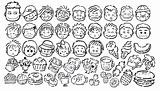 Cartoon face and foodstuff icons in black and white