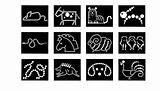 Dot Animal Icons In Black And White