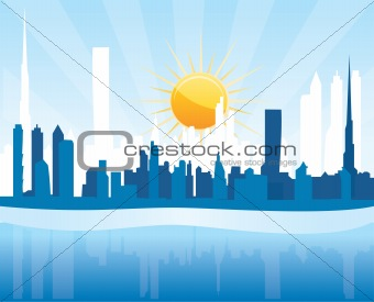 Cityscape Dubai, sunrise scene with skyscrapers