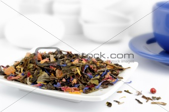 Mix of green and herbal tea