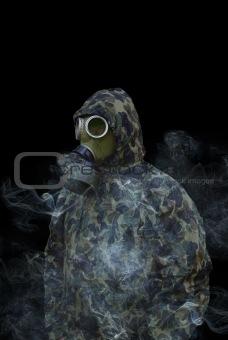 man in anti-gas mask