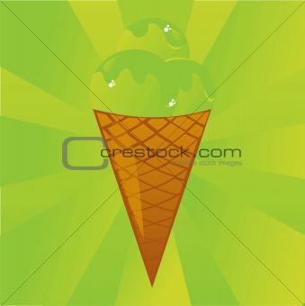 green ice-cream background