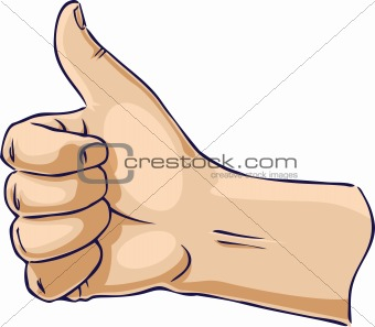 Hands showing thumb up from side