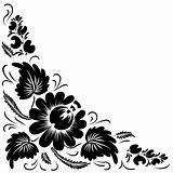 Black flowers on a white background