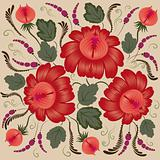 Red flowers on a beige background