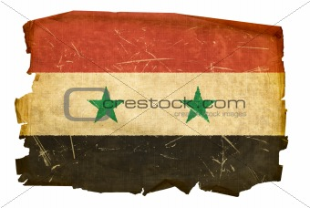 Syrian Flag old, isolated on white background