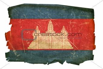 Cambodia flag old, isolated on white background