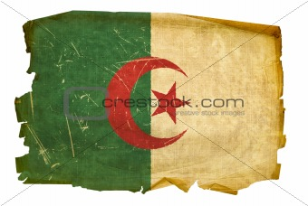 Algeria flag old, isolated on white background