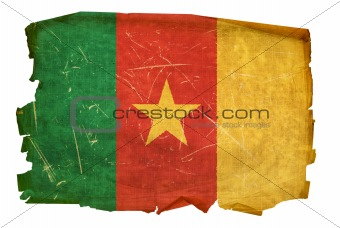Cameroon flag old, isolated on white background