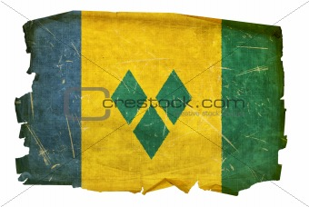 Saint Vincent and the Grenadines flag old, isolated on white