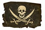 pirate flag old, isolated on white background