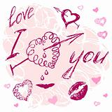 valentine I Love You Vector Lettering