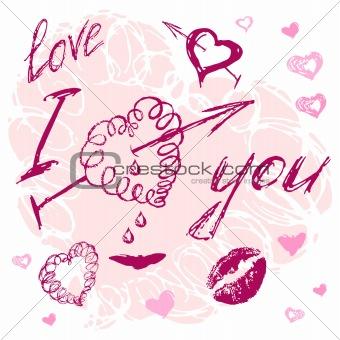 valentine I Love You Vector Lettering