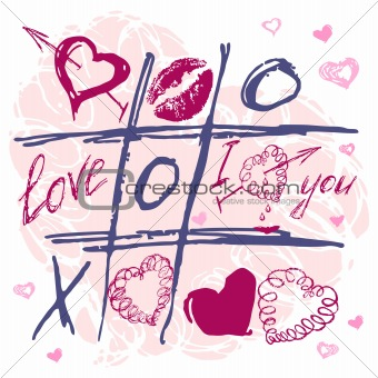 Hand drawn Tic Tac Toe Hearts, Valentine background.