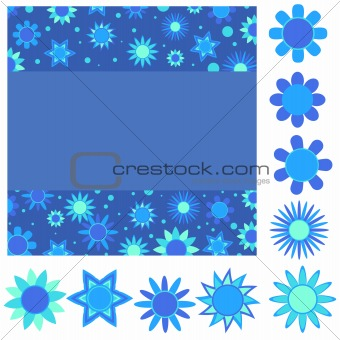Blue and turquoise flower background and flowers