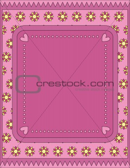 background with hearts, dots and flowers