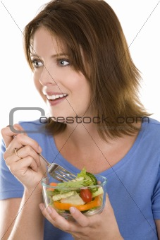 casual woman eating salad