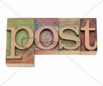 post  - word in letterpress type