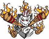 Softball Baseball Plate and Bats Flaming Cartoon Logo