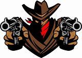 Cowboy Mascot Aiming Guns