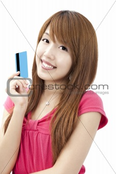 smiling asian girl holding credit card