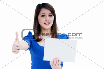 Cute young woman holding blank note card