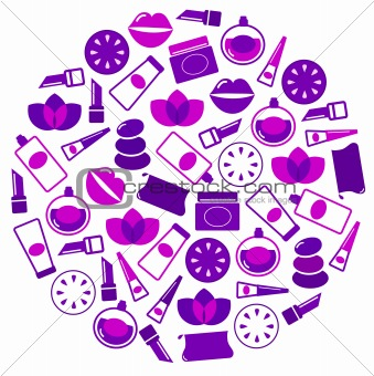 Cosmetics icons in circle isolated on white - purple